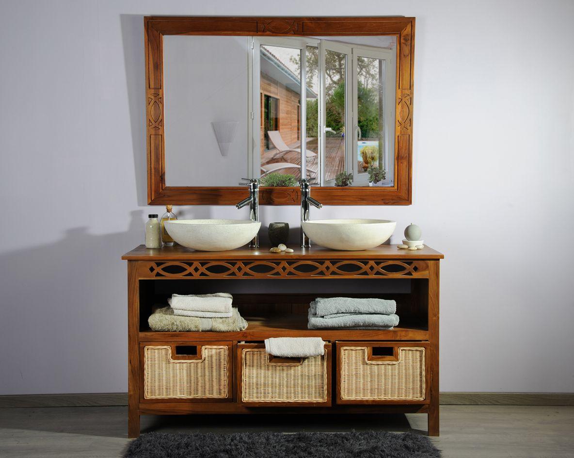 Meuble Pour Vasque Avec Colonne meuble en teck pour salle de bain 140 attessam