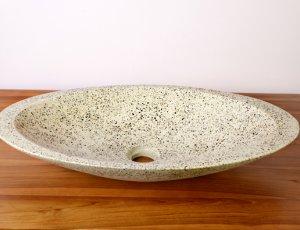 Vasque de salle de bain ovale grise