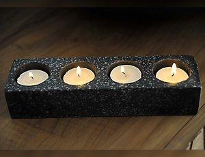 Porte bougies noir pour salle de bain