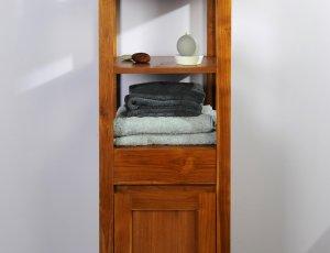 Meuble Colonne de salle de bain en teck grey naturel