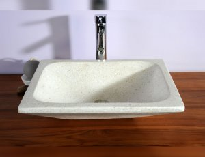 Vasque de salle de bain rectangulaire blanche