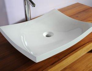Vasque de salle de bain plate blanche