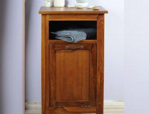 Meuble panière à linge de de salle de bain  en teck