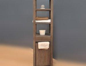 Meuble colonne pour salle de bain teck grey