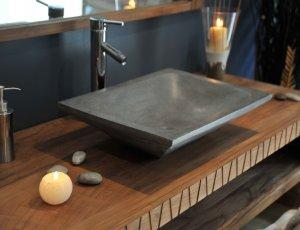Vasque de salle de bain rectangulaire grise