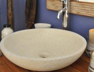 Vasque de salle de bain ronde blanche