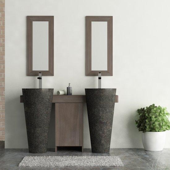 Salle bain teck gris 140 cleopatra porte noir