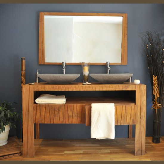 meuble teck salle de bain 140 borneo ensemble