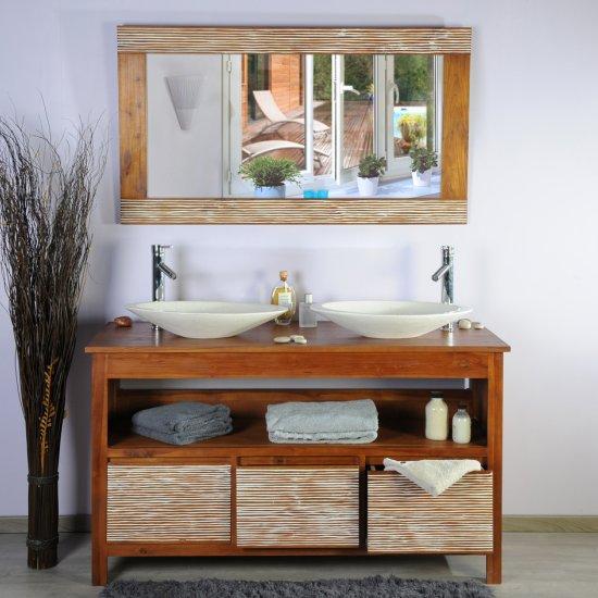 Meuble teck salle de bain 140 new savanah ensemble
