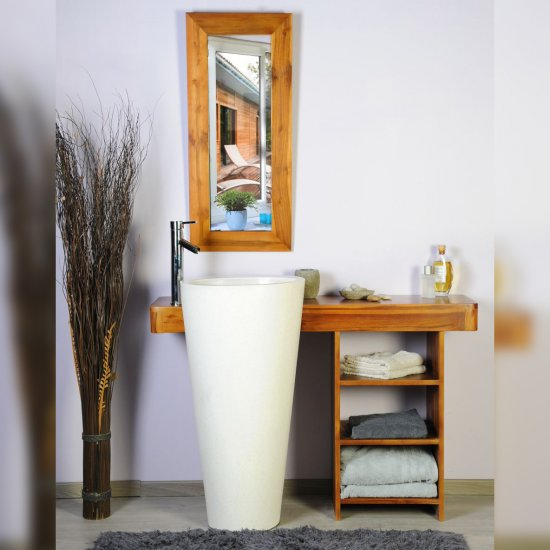 Salle bain teck 120 cleopatra blanc