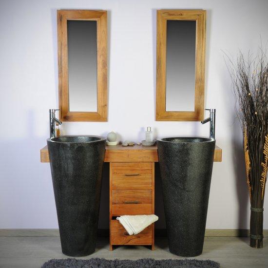 Salle bain teck 140 cleopatra noir tiroirs