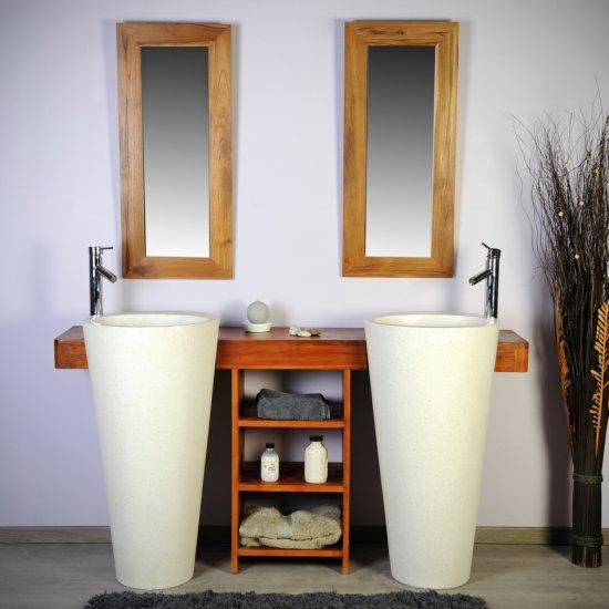 Salle bain teck 160 cleopatra blanc