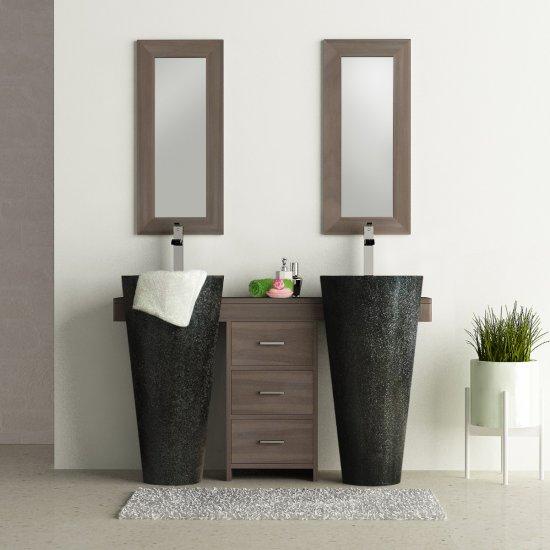 Salle bain teck grisé 140 cleopatra tiroirs noir