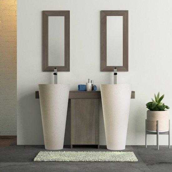 Salle de bain teck cleopatra A3 double porte blanc