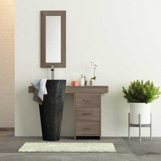 salle bain teck grisé cleopatra 120 tiroirs noir
