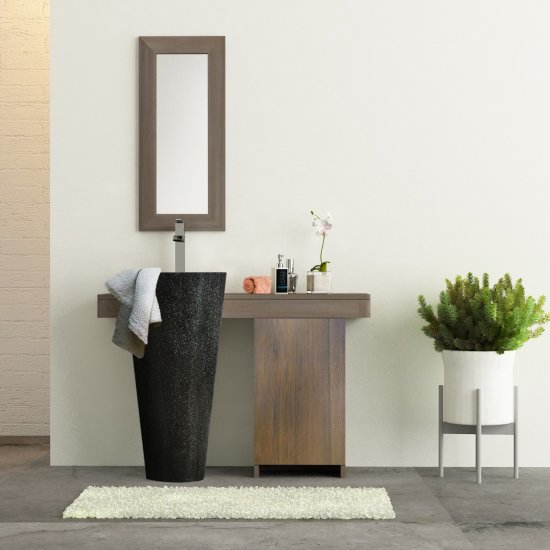 Salle bain teck cleopatra A3 simple porte noir