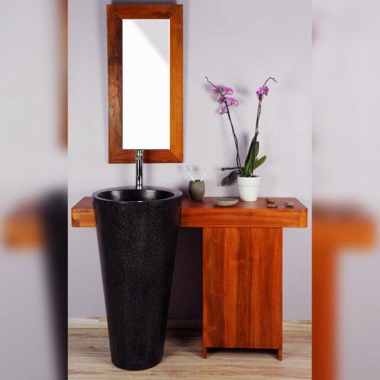 Salle bain teck 120 cleopatra noir porte