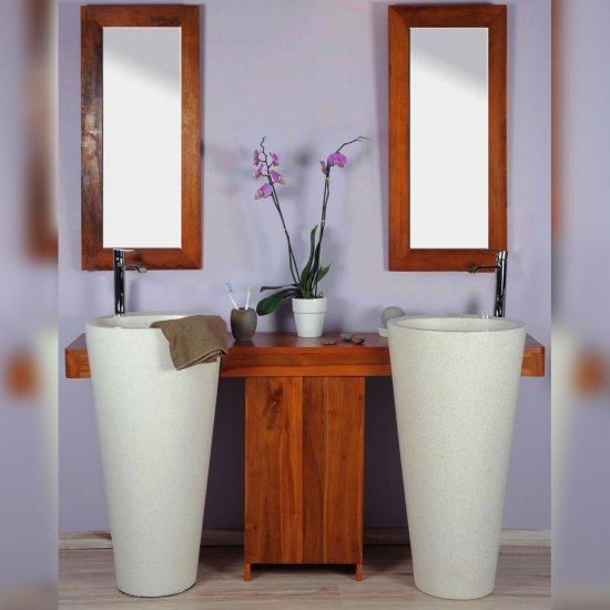 Salle bain teck 140 cleopatra blanc porte